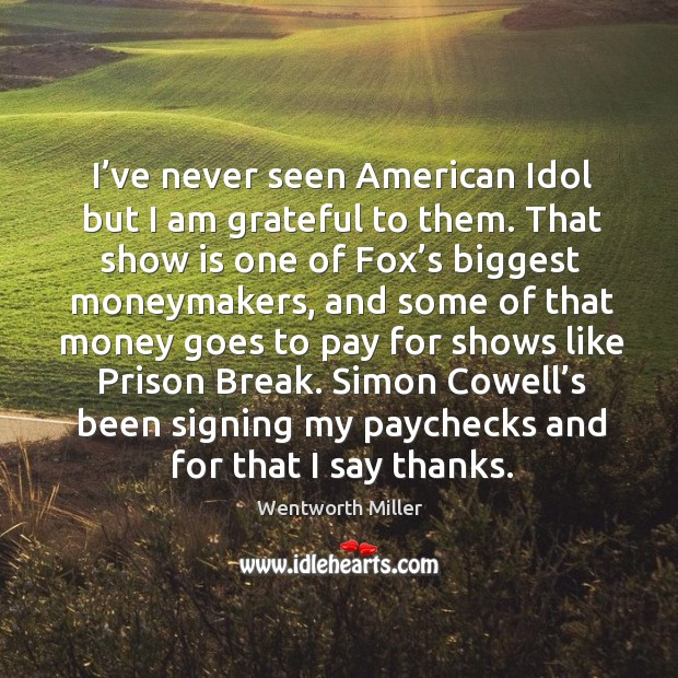 I've never seen american idol but I am grateful to them. That show is one of fox's biggest moneymakers Image