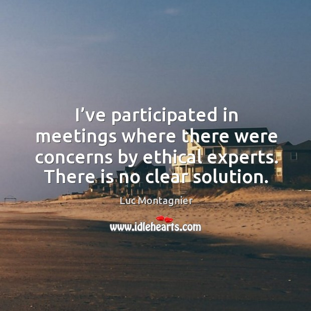 I've participated in meetings where there were concerns by ethical experts. There is no clear solution. Luc Montagnier Picture Quote