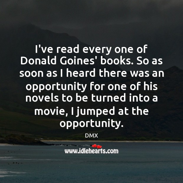 I've read every one of Donald Goines' books. So as soon as DMX Picture Quote