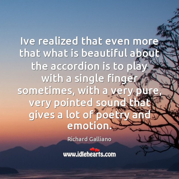 Ive realized that even more that what is beautiful about the accordion Emotion Quotes Image