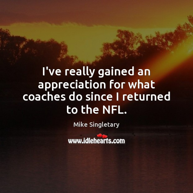 Image, I've really gained an appreciation for what coaches do since I returned to the NFL.