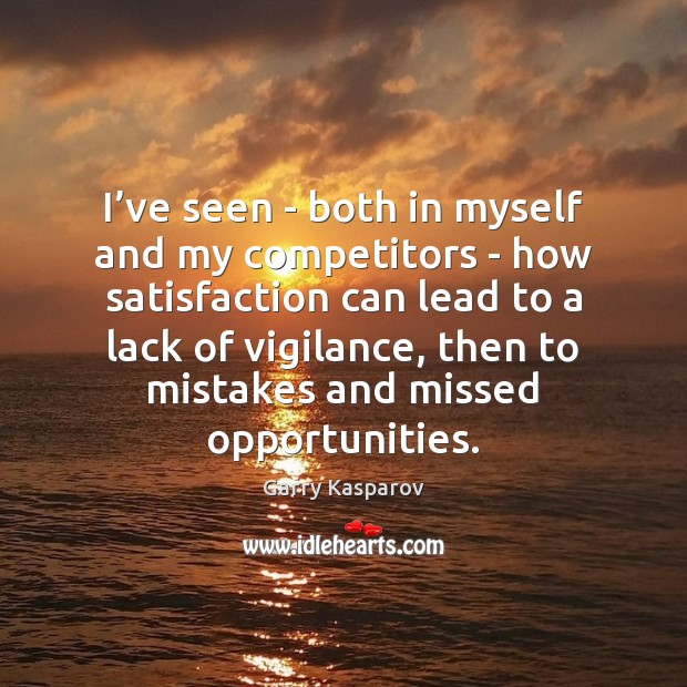 I've seen – both in myself and my competitors – how Image