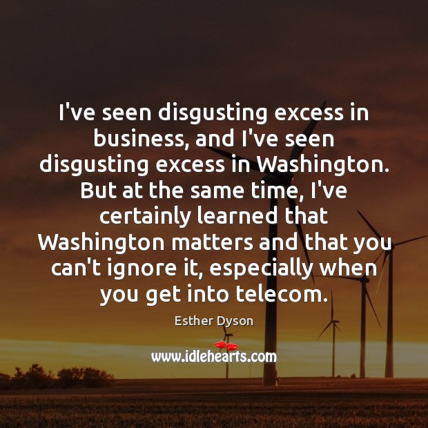 I've seen disgusting excess in business, and I've seen disgusting excess in Esther Dyson Picture Quote