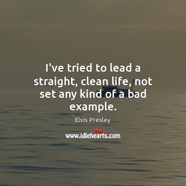I've tried to lead a straight, clean life, not set any kind of a bad example. Image