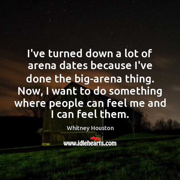 I've turned down a lot of arena dates because I've done the Image