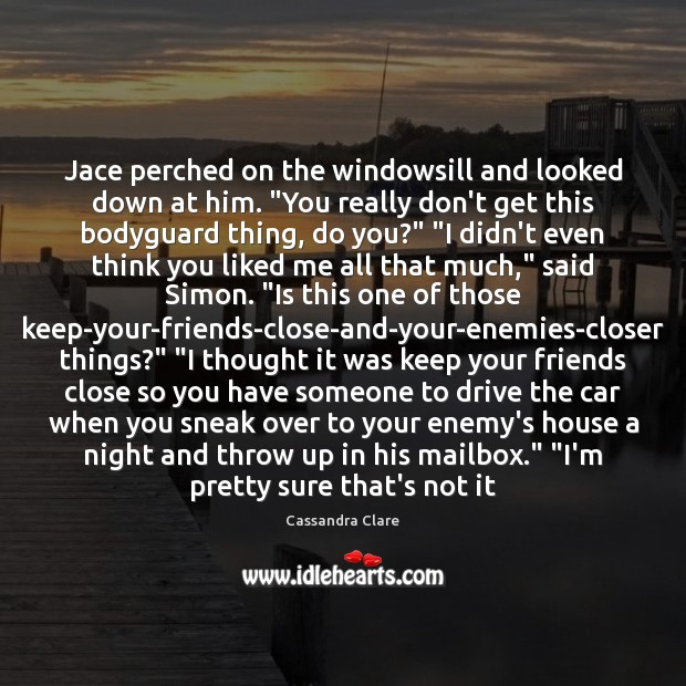 "Image, Jace perched on the windowsill and looked down at him. ""You really"
