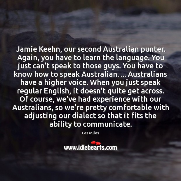 Jamie Keehn, our second Australian punter. Again, you have to learn the Image