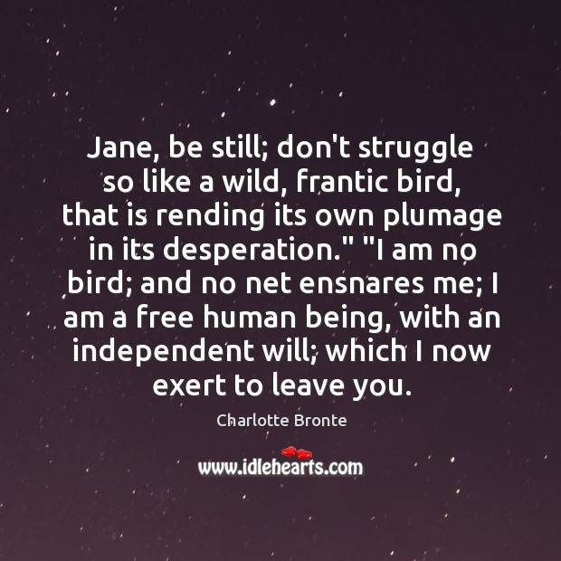 Jane, be still; don't struggle so like a wild, frantic bird, that Image