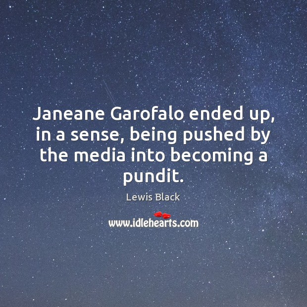 Janeane Garofalo ended up, in a sense, being pushed by the media into becoming a pundit. Image