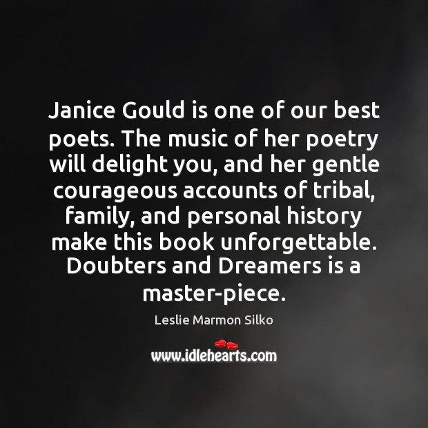 Image, Janice Gould is one of our best poets. The music of her