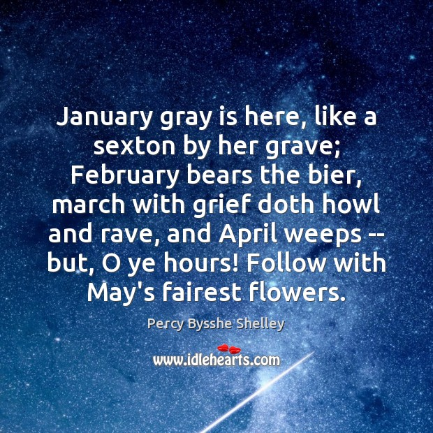January gray is here, like a sexton by her grave; February bears Image