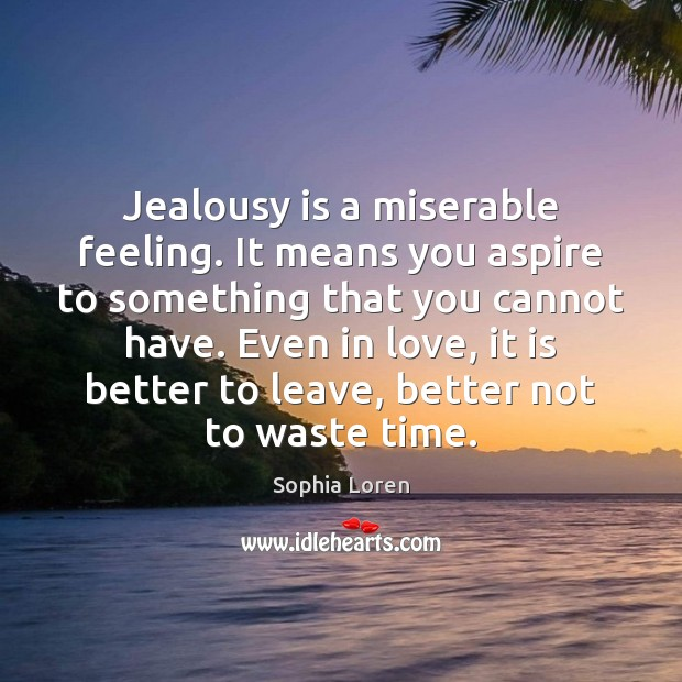 Jealousy is a miserable feeling. It means you aspire to something that Jealousy Quotes Image