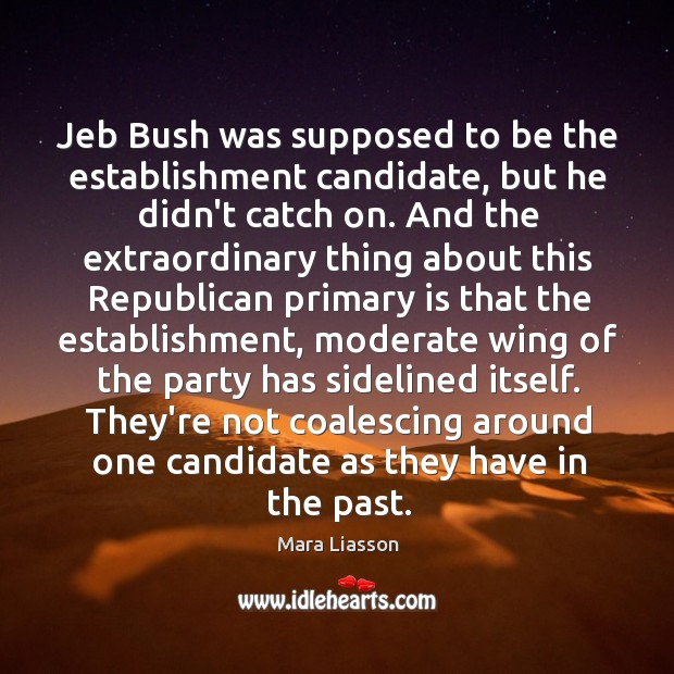 Jeb Bush was supposed to be the establishment candidate, but he didn't Image