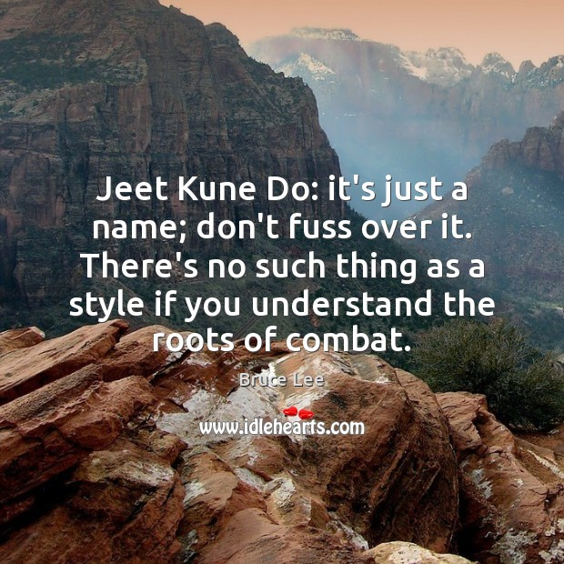 Jeet Kune Do: it's just a name; don't fuss over it. There's Image