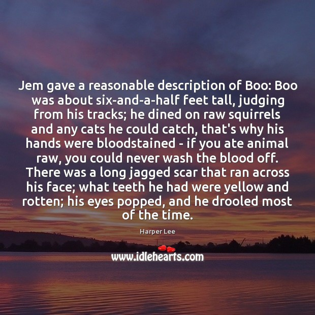 Jem gave a reasonable description of Boo: Boo was about six-and-a-half feet Harper Lee Picture Quote