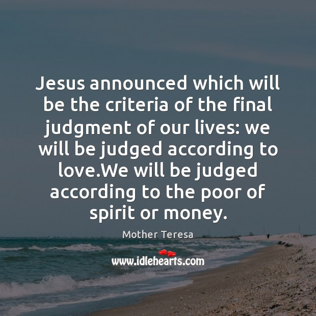 Image, Jesus announced which will be the criteria of the final judgment of