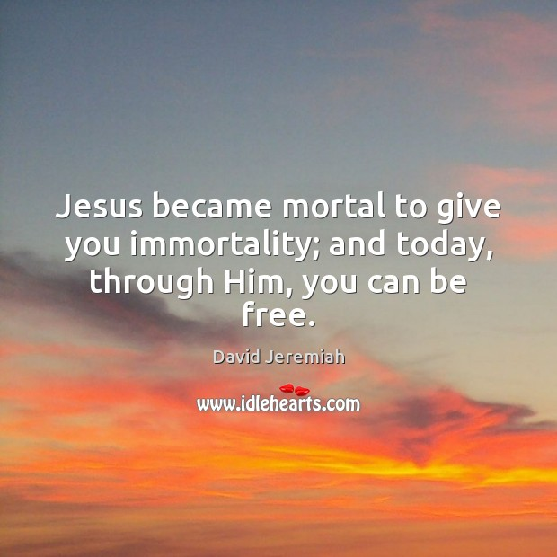 Jesus became mortal to give you immortality; and today, through Him, you can be free. David Jeremiah Picture Quote
