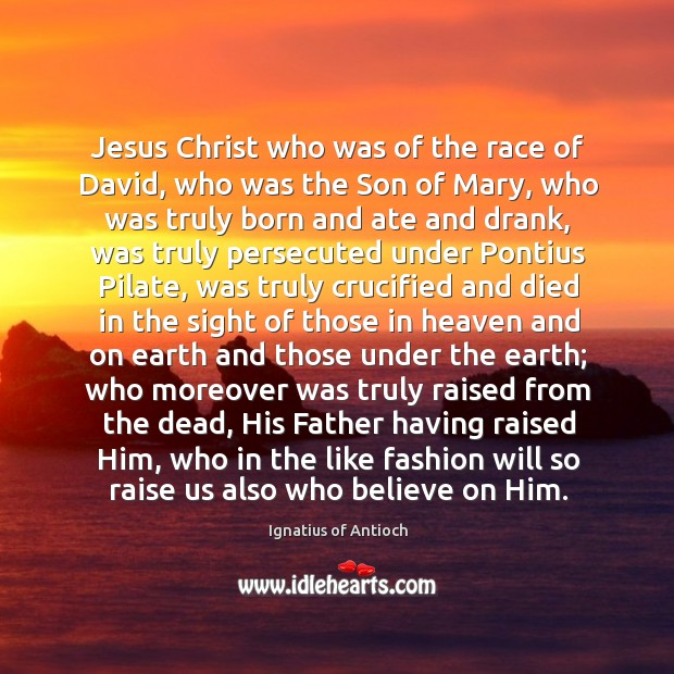 Jesus Christ who was of the race of David, who was the Image