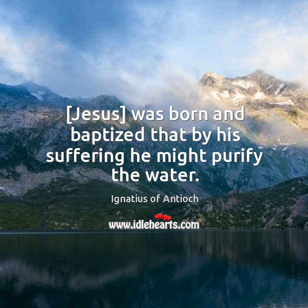 [Jesus] was born and baptized that by his suffering he might purify the water. Image