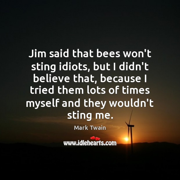 Jim said that bees won't sting idiots, but I didn't believe that, Image