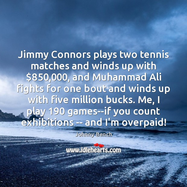 Jimmy Connors plays two tennis matches and winds up with $850,000, and Muhammad Image