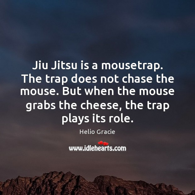 Jiu Jitsu is a mousetrap. The trap does not chase the mouse. Image