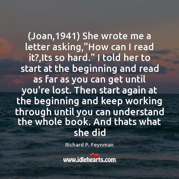 """(Joan,1941) She wrote me a letter asking,""""How can I read it?, Image"""