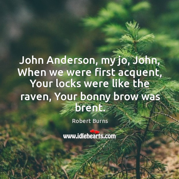 John anderson, my jo, john, when we were first acquent, your locks were like the raven, your bonny brow was brent. Image