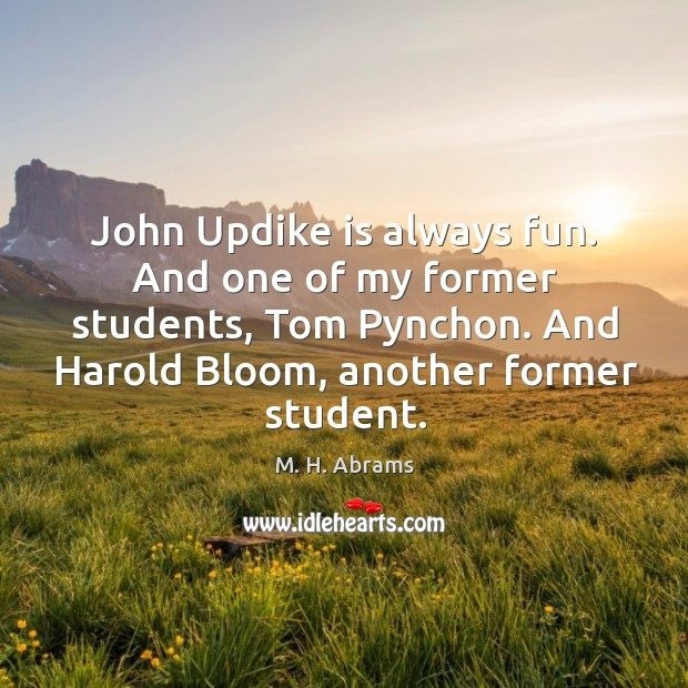 John updike is always fun. And one of my former students, tom pynchon. And harold bloom, another former student. Image
