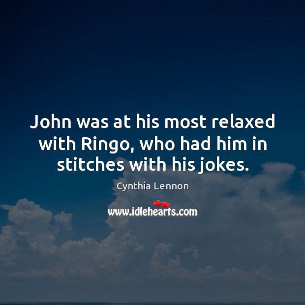 John was at his most relaxed with Ringo, who had him in stitches with his jokes. Image