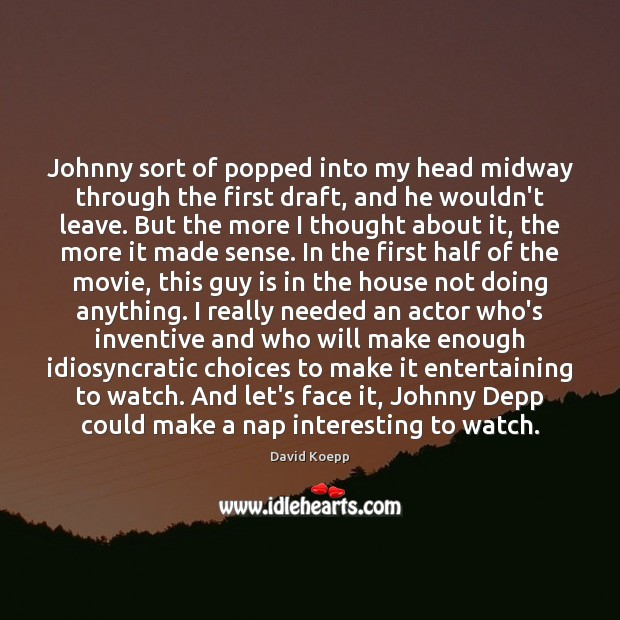 Johnny sort of popped into my head midway through the first draft, Image