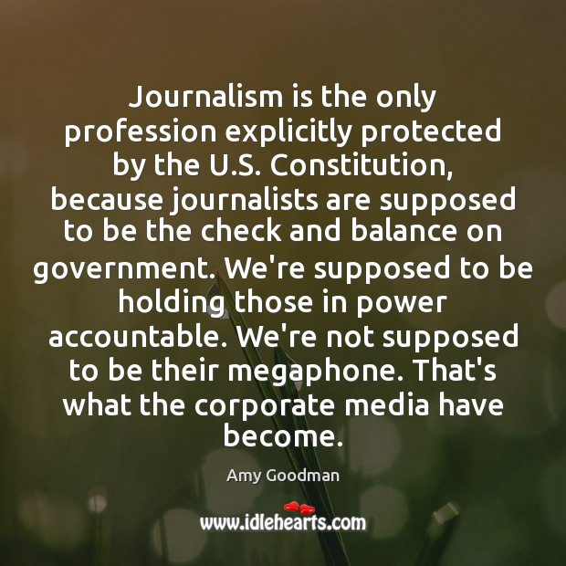 Image, Journalism is the only profession explicitly protected by the U.S. Constitution,