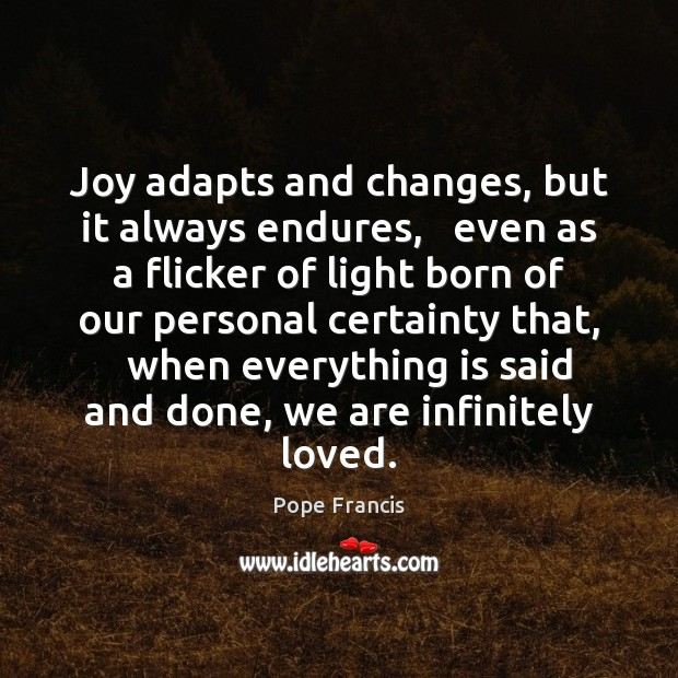 Joy adapts and changes, but it always endures,   even as a flicker Pope Francis Picture Quote