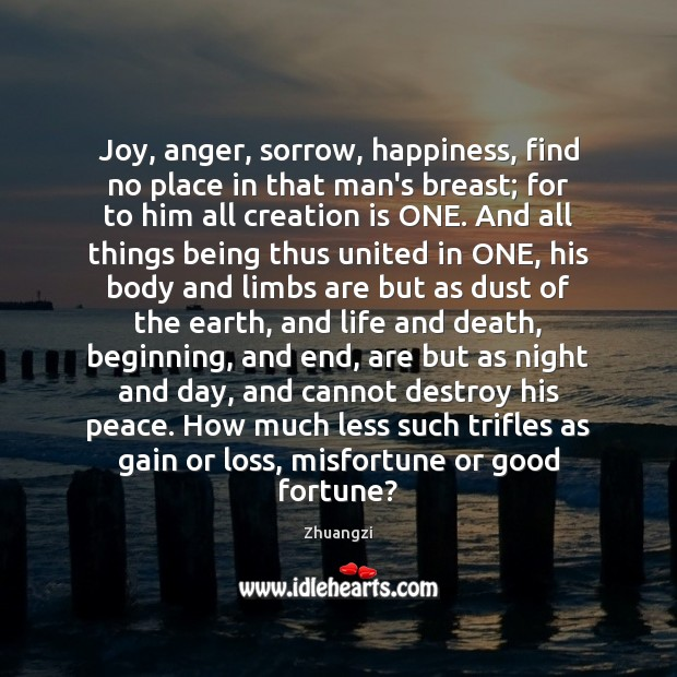 Joy, anger, sorrow, happiness, find no place in that man's breast; for Image