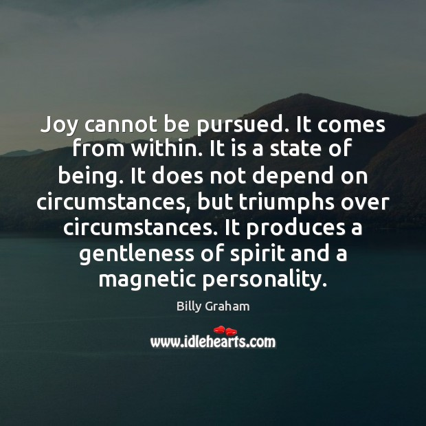 Joy cannot be pursued. It comes from within. It is a state Image