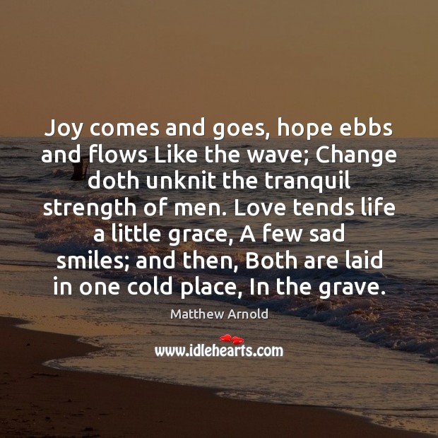 Joy comes and goes, hope ebbs and flows Like the wave; Change Image