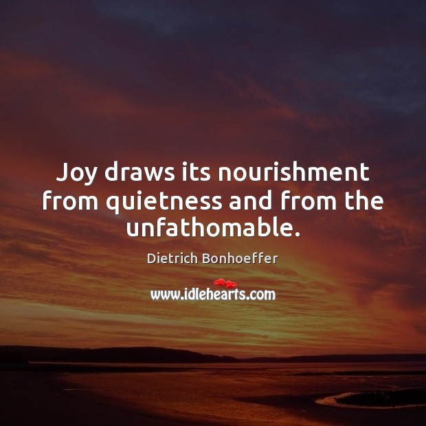 Joy draws its nourishment from quietness and from the unfathomable. Image