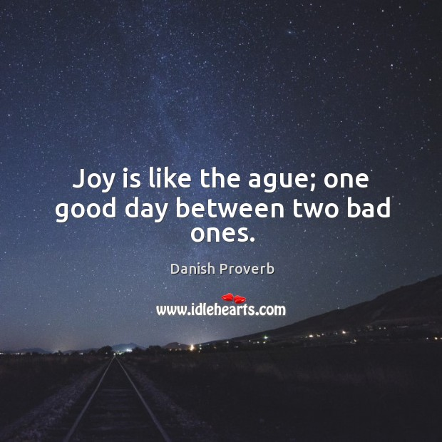 Joy is like the ague; one good day between two bad ones. Image