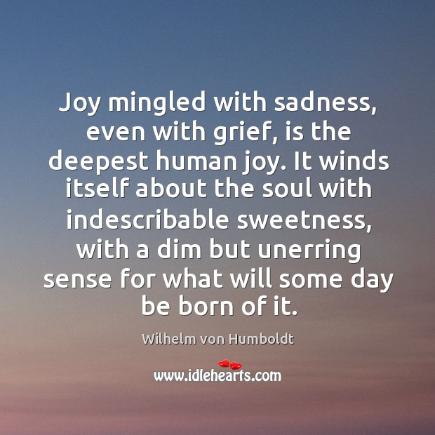 Joy mingled with sadness, even with grief, is the deepest human joy. Image