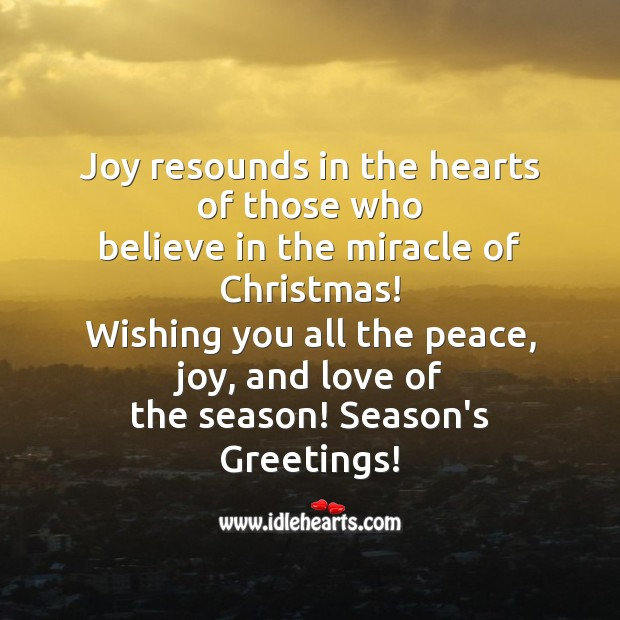 Joy resounds in the hearts Christmas Messages Image