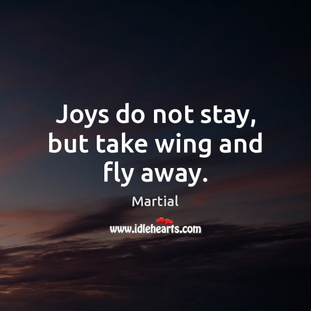 Joys do not stay, but take wing and fly away. Martial Picture Quote