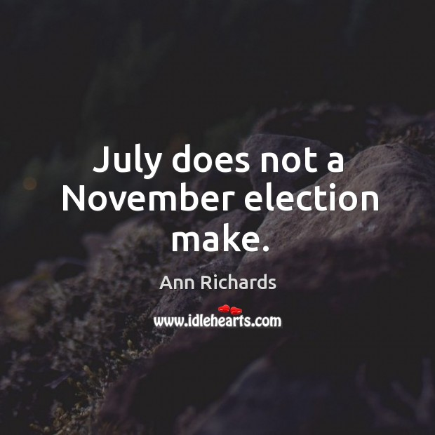 July does not a november election make. Image
