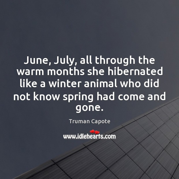 Image, June, July, all through the warm months she hibernated like a winter