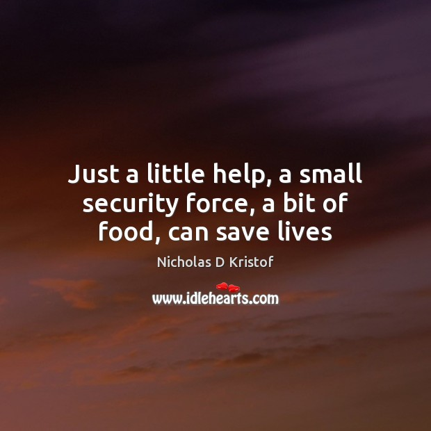 Just a little help, a small security force, a bit of food, can save lives Nicholas D Kristof Picture Quote