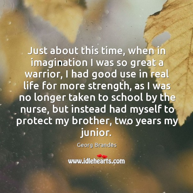 Just about this time, when in imagination I was so great a warrior, I had good use in real life Georg Brandes Picture Quote