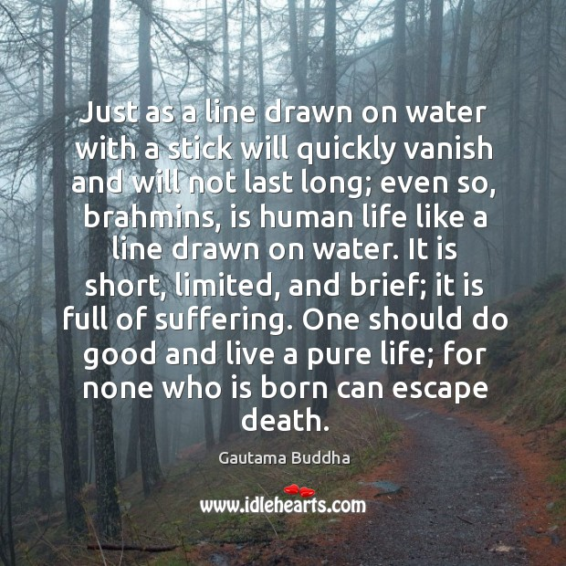 Just as a line drawn on water with a stick will quickly Image