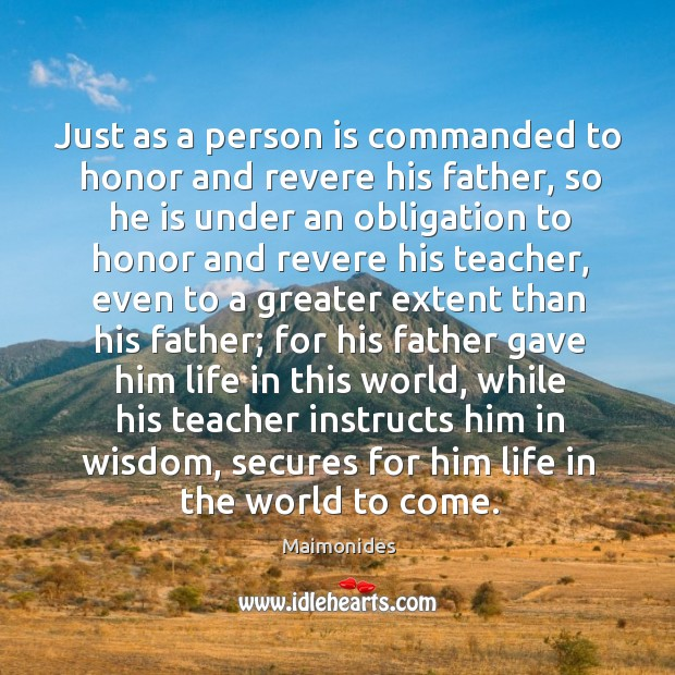 Just as a person is commanded to honor and revere his father, Image