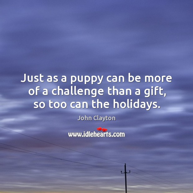 Just as a puppy can be more of a challenge than a gift, so too can the holidays. John Clayton Picture Quote