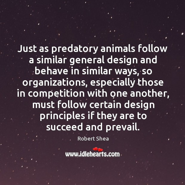 Just as predatory animals follow a similar general design and behave in similar ways Robert Shea Picture Quote