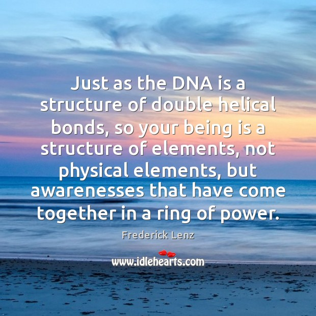 Just as the DNA is a structure of double helical bonds, so Image